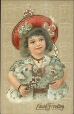 Easter - Beautiful Little Girl w/ Red Hat Holding Lambs c1910 Postcard