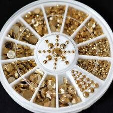 DIY 3D Nail Art Dekoration Gold Acryl Glitter Strass Tips Maniküre 5 Größe MIDE
