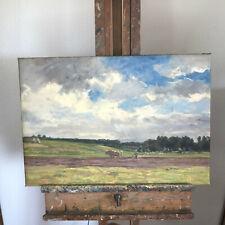 tableau N70 huile sur toile labour avec les boeufs scene paysanne