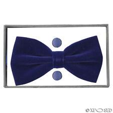 Mens Velvet Adjustable Bowtie Cufflink Hankie Set Wedding Party Smart Neck Tie Navy Blue