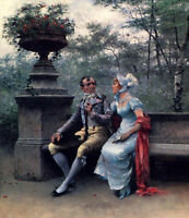 Nice Oil painting portraits man and lady - A Lovers' Quarrel in landscape