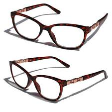 Khan Fashion Reading Glasses Reader metal gold chain accents Tortoise +3.25