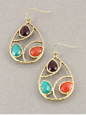 "Goldtone Multi Colored Crystal Bead Gem ""Teardrop"" Earrings"