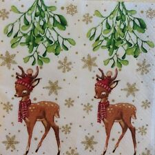 paper napkins decoupage x 2 Christmas bambi 21cm