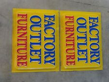 Factory Outlet Furniture sign set  4' x 3' in great shape!