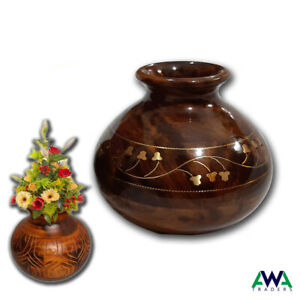 """Flower Vase Hand Made wooden Decoration Worked Table Decoration Pitcher 5"""""""