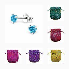 Childrens Girls 925 Sterling Silver  CZ Little Heart Stud Earrings - Pouch