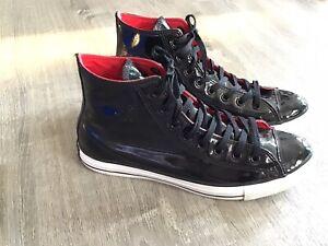 Converse Black Patent Leather Hi Tops All Star Chucks Mens 10.5/Women 12.5 Nice!