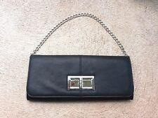 Poppie Jones Black Silver Turn Lock Envelope Purse Handbag Clutch Chain Strap