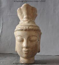 "8"" China Buddhism old porcelain glaze Carved Kwan-yin Guanyin Buddha Head Statue"