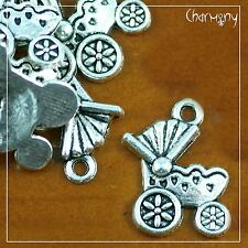 Baby Pram charms ~PACK of 10~ carriage stroller shower party invitation bead
