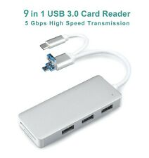 USB Hub,9-in-1 Type C Hub with 3 USB 3.0 Ports,SD/TF Card Reader,Adapter for Mac