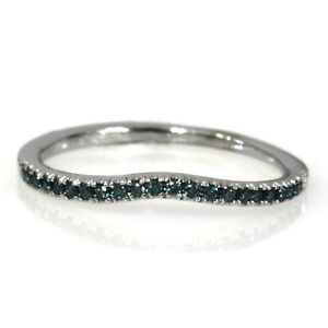 0.15 ctw Natural Blue Diamond Solid 14k White Gold Curved Wedding Ring 1.5 MM