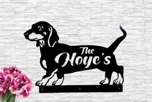 Dachshund Sign Family Name House Address Sign Dog Doxin Wood Monogram Sign