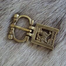 Viking Wolf Patterned Brass Belt Buckle. Ideal For Re-enactment, Costume & LARP