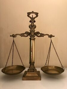 Scales of Justice Vintage Antique Brass with 12 weights