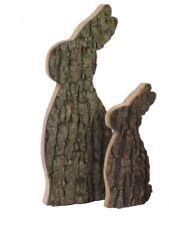WMG Conejo de madera de pie, Conejo de Pascua Madera De Roble Con VACUNO 30cm
