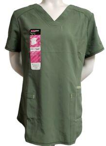 Scrubstar Women's Scrub Top Solid Contrast V-Neck Size Large Olive Leaf Color