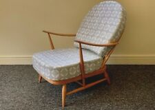 VINTAGE ERCOL: WINDSOR 203 ARMCHAIR WITH GREY/WHITE DESIGNER PRINT COVERS