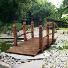 5ft Wooden Bridge Stained Decorative Solid Wood Garden Pond Arch Walkway