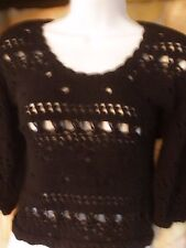 Spiegel Womens Black Knitted Crop Top Sz M Medium EUC