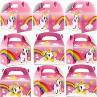 12pk Pink Unicorn Rainbow Birthday Party Gift Treat Boxes Goody Favors Supplies