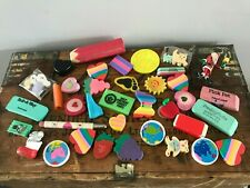 Vtg 80s 90s Retro 1980s 1990s Girl NOS Miniature Pencil Erasers Toppers Lot 37Pc
