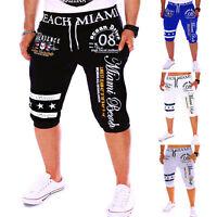 Men's Cotton Shorts Gym Casual Short Pants Sport Jogging Cropped Trousers Capris