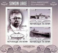 Benin 2016 MNH Simon Lake 150th Birth Anniv Submarines 3v M/S  Ships Stamps