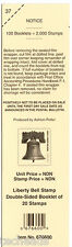 DECK LABEL - LIBERTY BELL- 20 NDN Stamp Double-Sided Booklet. Tab #37, #676600