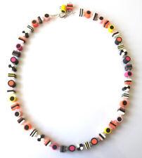 Beautiful handmade liquorice allsorts necklace incorporating swarovski crystals
