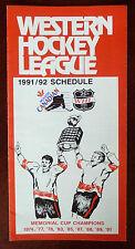 1991-92 Molson Canadian WHL Schedule Full Calendar / 25th Anniversary 1966-1991