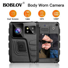 BOBLOV 128G Body Camera Video Recording Dual Screens With 2Pcs 360°Rotable Clips