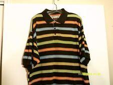 KOMAN JEANS Big/Tall 2XL Horizontal Stripe 1/4 Button Polo Short Sleeve Shirt