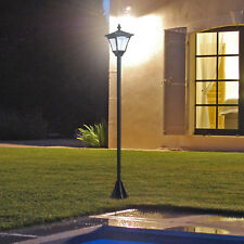 Solar Laterne mit LED Gartenlaterne Wegleuchte 10 Lumen H120cm Schwarz