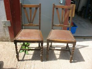 A PAIR OF OLD STYLISH DINING KITCHEN CHAIRS FOR RECOVERING PROJECT + CAN DELIVER