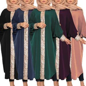 Islamic Abaya Muslim Women Ladies Maxi Dress Loose Robe Bat Sleeve Kaftan S-5XL