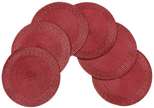 Rome Woven Braided Stitch Edge Non-Slip Table Placemats 15 Inches Round Set Of 6