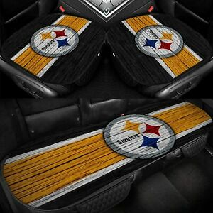Pittsburgh Steelers 3Pcs Cushions Covers Car Seat Protector Mat for Auto Chair