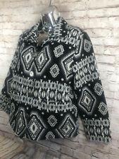 JANE ASHLEY womens M aztec print western cropped jacket black gray