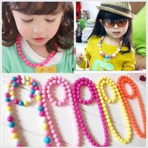Modern Fashion Girls Necklace Colorful Bead Bracelet Jewelry Set kids Gifts