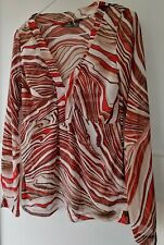 Womens Mexx Summer Top Lightweight Mesh Fabric in Orange Brown White Swirls