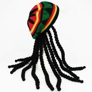 RASTA HAT JAMAICAN DREADLOCKS BOB MARLEY FANCY DRESS REGGAE SLOUCH BEANIE WIG