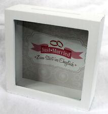 Spardose Rahmen Hochzeit Holz und Glas Geburtstag 15x15x5cm