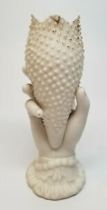 """Antique Victorian Parian Ware Pottery Hand Spill Vase6.75"""" BEADED TULIP - AS IS"""