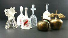 Lot of 7 Bells Crystal Porcelain Ceramic Brass Apple Swan