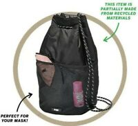 VICTORIA'S SECRET PINK Black Drawstring Backpack VS School Bag Recycled Material