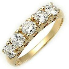 Size 7 Cute Solitaire White Sapphire 18K Gold Filled Women's Wedding Ring Gift