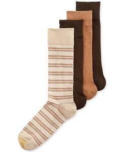 $45 Gold Toe Men'S 4-Pair Pack Beige Striped Cotton Crew Dress Socks Shoe 6-12