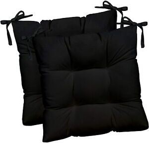 Set of 2 Indoor Outdoor All Weather Floor Cushion for Patio Dining Chairs Ohuhu 19x19x5 Extra Thick Tufted Square Seat Cushions with Straps Outdoor Chair Cushions Patio Seat Cushion Office
